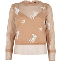 River Island Womens Beige Floral Embroidered Lace Trim Top