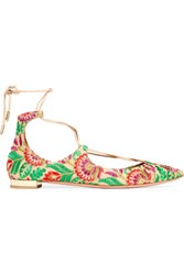 Aquazzura Christy Embroidered Canvas Point Toe Flats Green