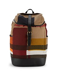 Burberry Plaid Leather Accented Backpack Tan Multi