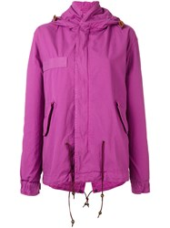Mr And Mrs Italy Fur Trim Parka Pink Purple