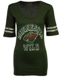Retro Brand Women's Minnesota Wild Vintage Sleeve Stripe T Shirt Darkgreen