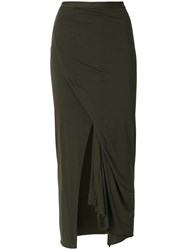 Rick Owens Lilies Slit Maxi Skirt Women Cotton Polyamide Viscose 40 Green