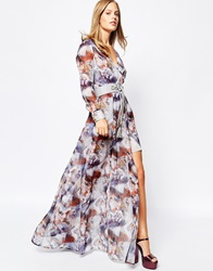 Lost Ink Horse Print Maxi Dress With Lace Up Belt Multi