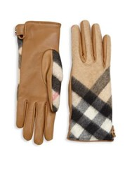Burberry Leather And Check Cashmere Gloves Camel