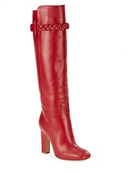 Valentino Square Toe Knee High Leather Boots Red