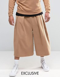 Reclaimed Vintage Culottes In Faux Wool Camel Black
