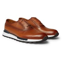 Berluti Fast Track Leather Brogue Sneakers Tan
