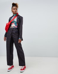 23b107d4819 Monki Press Collection Tailored Wrap Trousers Navy