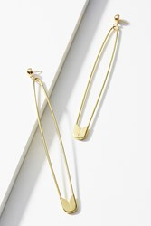 Anthropologie Slim Safety Pin Drop Earrings Gold