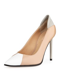Reed Krakoff Academy Patent Leather Pointed Toe Pump White Nude