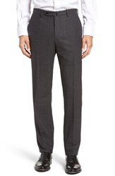 Incotex Men's Benson Flat Front Plaid Wool And Cashmere Trousers Dark Charcoal