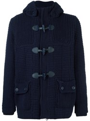 Bark Quilted Short Duffle Coat Blue
