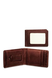 Jack Georges Voyager Small Bi Fold Money Clip Genuine Buffalo Leather Wallet Brown