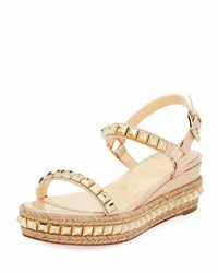 Christian Louboutin Cataclou Two Band Red Sole Wedge Sandal Nude