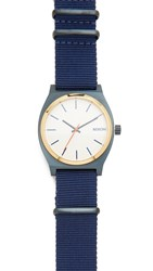 Nixon Time Teller Nato Strap Watch Blue Gold White