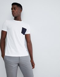 French Connection Contrast Pocket T Shirt White