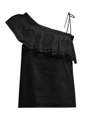 Redvalentino Ruffled One Shoulder Broderie Anglaise Top Black