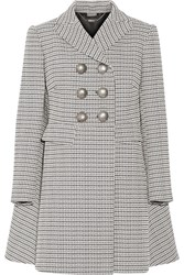 Alexander Mcqueen Double Breasted Houndstooth Tweed Coat Black