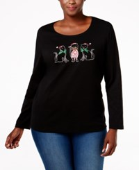 Karen Scott Plus Size Holiday Cat Graphic Top Only At Macy's Deep Black