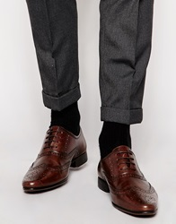 Asos Oxford Brogue Shoes In Leather Brown