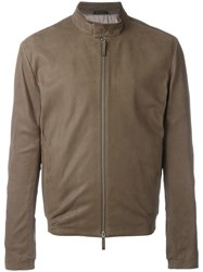 Armani Collezioni Banded Collar Leather Jacket Brown