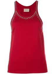 Laneus Studded Trim Vest Top Red
