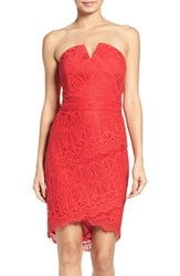 Adelyn Rae Women's Strapless Lace Dress Red