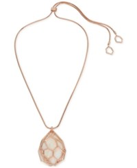 Kenneth Cole New York Rose Gold Tone Mother Of Pearl Shell Slider Pendant Necklace