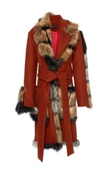 Christian Siriano Faux Fur Wrap Coat Red