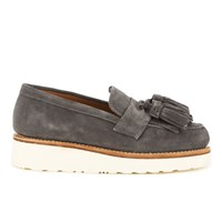 Grenson Women's Clara V Suede Tassle Loafers Charcoal Grey