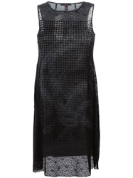 High Sleeveless Shift Dress Black