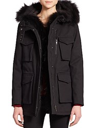 The Kooples Classic Raccoon Fur Trim Parka Black