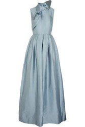 Merchant Archive Knotted Pleated Twill Jumpsuit Sky Blue