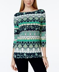 Charter Club Printed Bateau Neck Top Only At Macy's