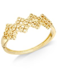 Charter Club Openwork Flower Hinged Bangle Bracelet Only At Macy's Gold