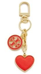 Tory Burch Logo And Heart Bag Charm Poppy Red