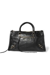 Balenciaga Classic Work Textured Leather Tote Black