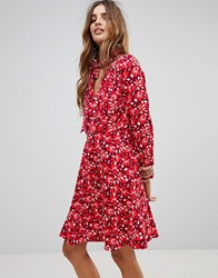 Trollied Dolly Floral Dress With Scarf Red