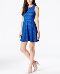 Fire Juniors' Burnout Fit And Flare Dress Cobalt Nude