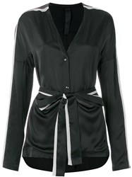 Ilaria Nistri Long Sleeve Belted Top Black
