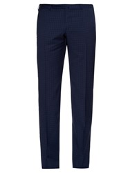 Ermenegildo Zegna Checked Slim Leg Wool Trousers