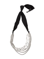 Lanvin Embellished Chain Necklace Metallic
