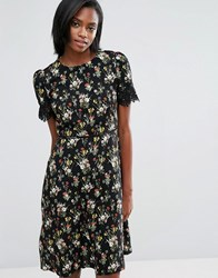 Oasis Longer Line Floral Print Lace Sleeve Dress Multi Black White