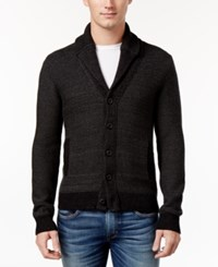 American Rag Men's Colorblocked Texture Shawl Collar Cardigan Only At Macy's Black Multi
