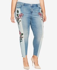 William Rast Trendy Plus Size Two Tone Embroidered Jeans Hallows