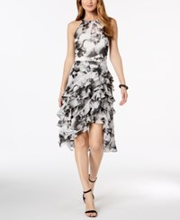 Msk Floral Print Ruffle Dress Black White