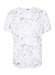 Topman Lux White And Grey Crackle Print Kimono Sleeve T Shirt