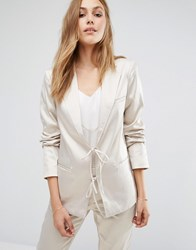 Vila Tailored Blazer With Tie String Front Silver