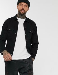 Liquor N Poker Muscle Fit Denim Shirt In Black