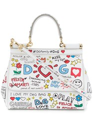 Dolce And Gabbana Small Sicily Mural Print Shoulder Bag White